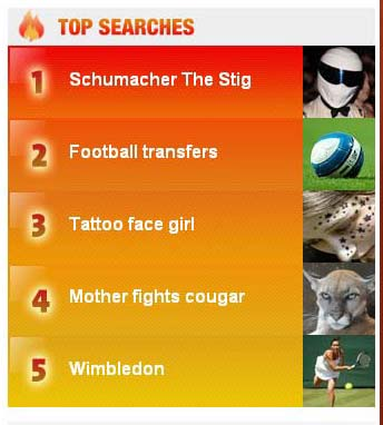AOL Hot Searches 26 June 2009 10:00am London